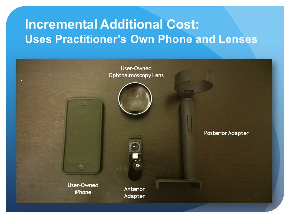 Incremental Additional Cost: Uses Practitioner's Own Phone and Lenses User-Owned iPhone User-Owned Ophthalmoscopy Lens Posterior Adapter Anterior Adap