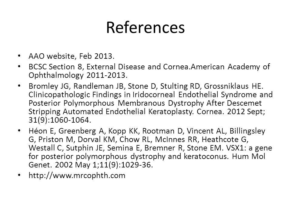 References AAO website, Feb 2013.
