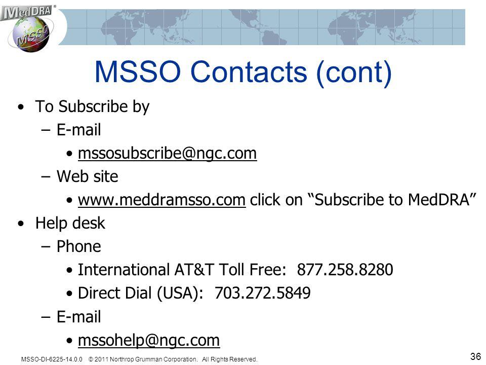 MSSO-DI-6225-14.0.0 © 2011 Northrop Grumman Corporation.