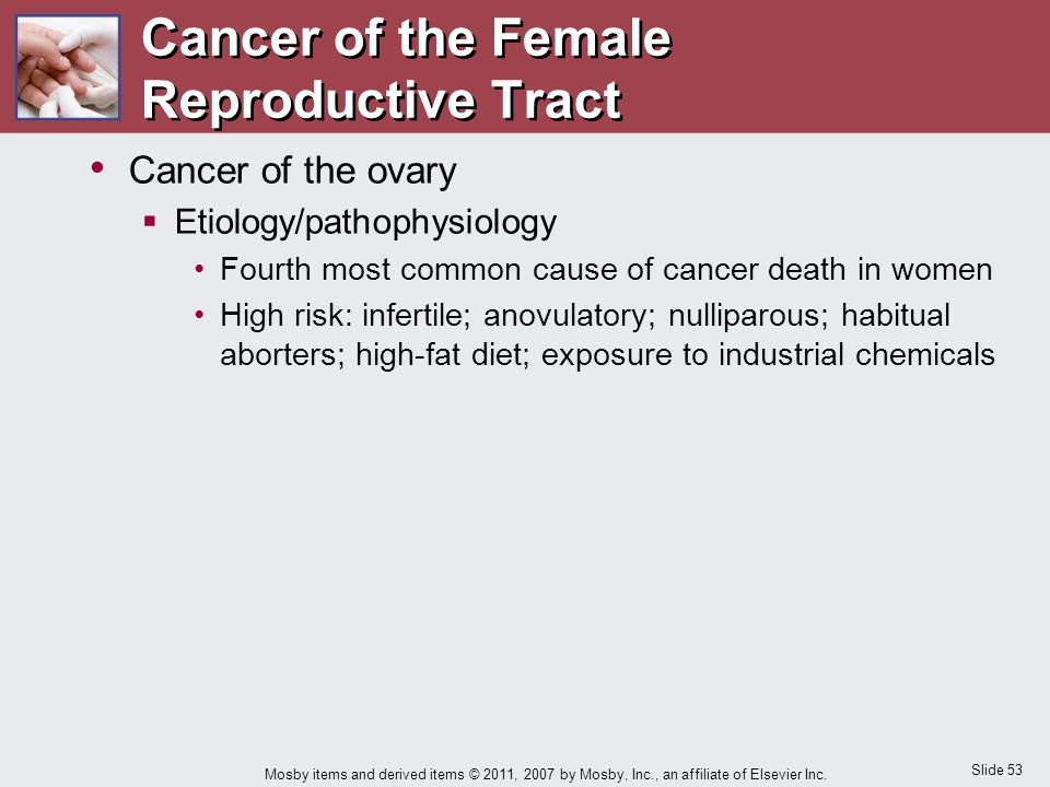 Slide 53 Mosby items and derived items © 2011, 2007 by Mosby, Inc., an affiliate of Elsevier Inc. Cancer of the ovary  Etiology/pathophysiology Fourt