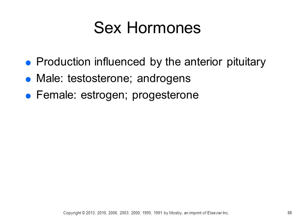 Sex Hormones  Production influenced by the anterior pituitary  Male: testosterone; androgens  Female: estrogen; progesterone 88 Copyright © 2013, 2