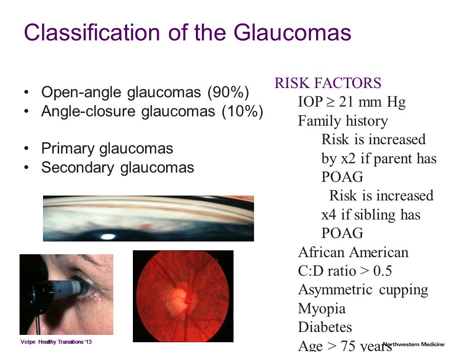 Volpe Healthy Transitions '13 Classification of the Glaucomas Open-angle glaucomas (90%) Angle-closure glaucomas (10%) Primary glaucomas Secondary gla