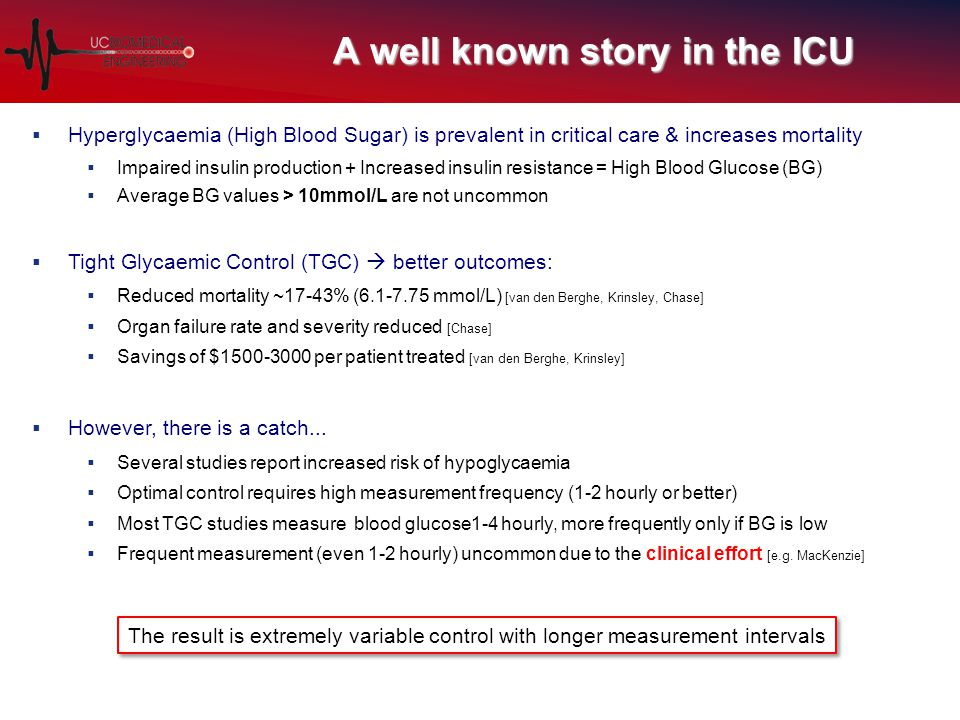 A well known story in the ICU  Hyperglycaemia (High Blood Sugar) is prevalent in critical care & increases mortality  Impaired insulin production + Increased insulin resistance = High Blood Glucose (BG)  Average BG values > 10mmol/L are not uncommon  Tight Glycaemic Control (TGC)  better outcomes:  Reduced mortality ~17-43% (6.1-7.75 mmol/L) [van den Berghe, Krinsley, Chase]  Organ failure rate and severity reduced [Chase]  Savings of $1500-3000 per patient treated [van den Berghe, Krinsley]  However, there is a catch...