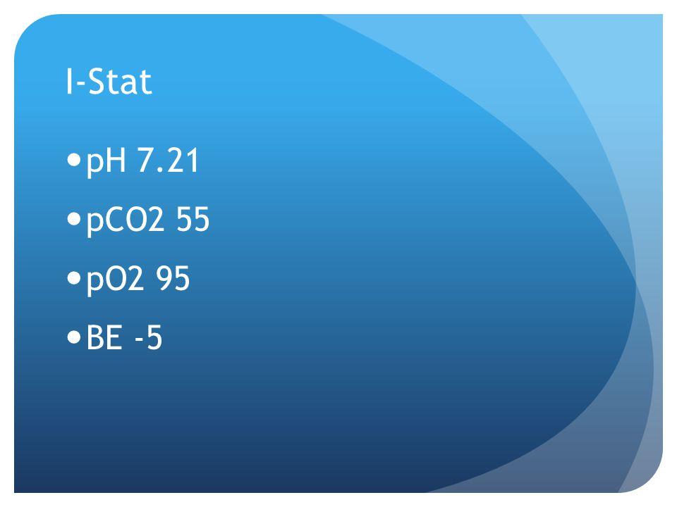 I-Stat pH 7.21 pCO2 55 pO2 95 BE -5