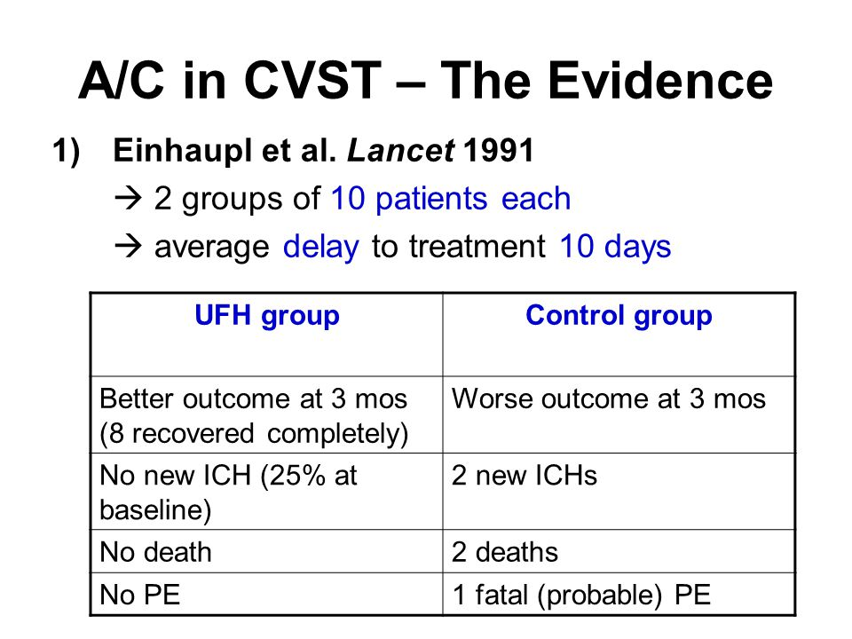 A/C in CVST – The Evidence 1)Einhaupl et al.