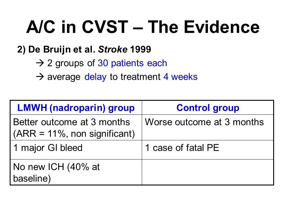 A/C in CVST – The Evidence 2) De Bruijn et al.