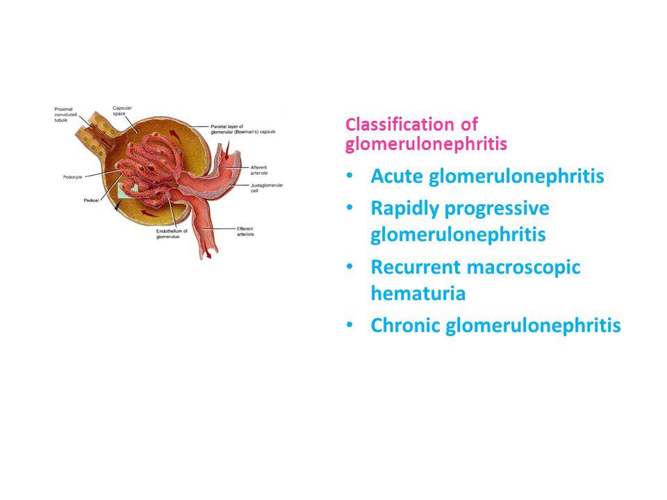Classification of glomerulonephritis Acute glomerulonephritis Rapidly progressive glomerulonephritis Recurrent macroscopic hematuria Chronic glomerulonephritis