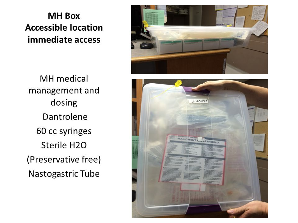 MH Box Accessible location immediate access MH medical management and dosing Dantrolene 60 cc syringes Sterile H2O (Preservative free) Nastogastric Tu