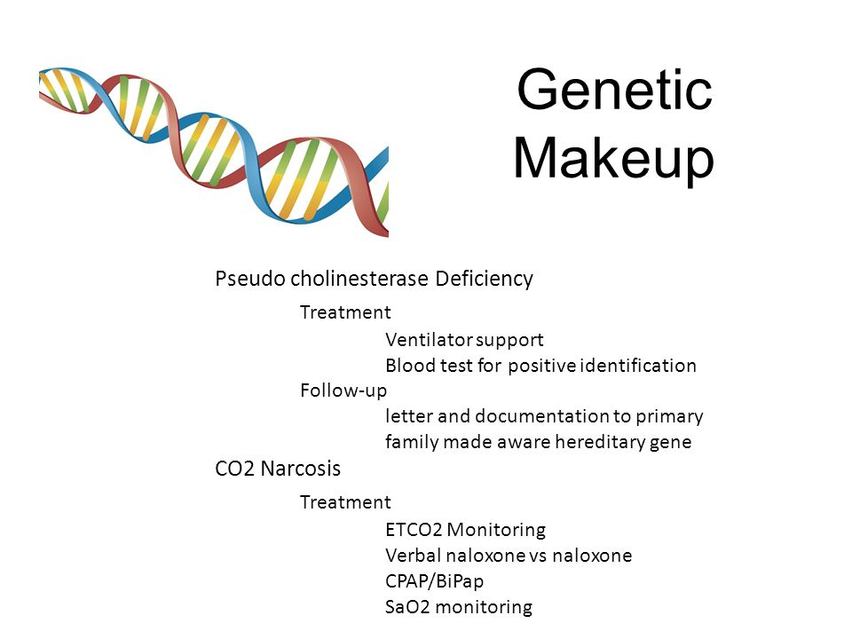 Genetic Makeup Pseudo cholinesterase Deficiency Treatment Ventilator support Blood test for positive identification Follow-up letter and documentation