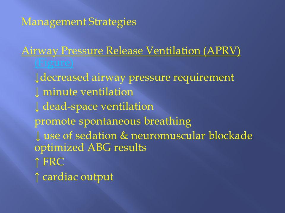 Management Strategies Airway Pressure Release Ventilation (APRV) (Figure) ↓decreased airway pressure requirement ↓ minute ventilation ↓ dead-space ven