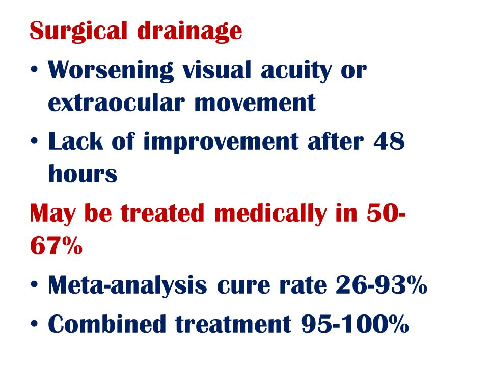 Surgical drainage Worsening visual acuity or extraocular movement Lack of improvement after 48 hours May be treated medically in 50- 67% Meta-analysis cure rate 26-93% Combined treatment 95-100%