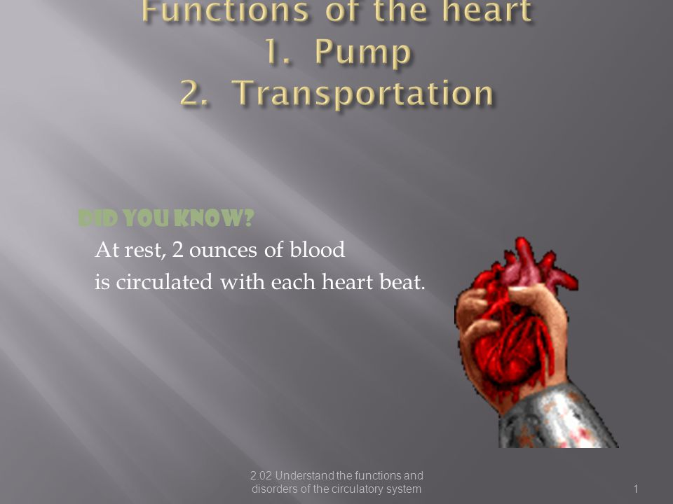 2 The function of the heart and blood vessels that supplies O2 and nutrients to the entire body is known as— Systemic Circulation The function of the heart that pumps blood from the heart to the lungs and back is known as- Cardiopulmonary Circulation
