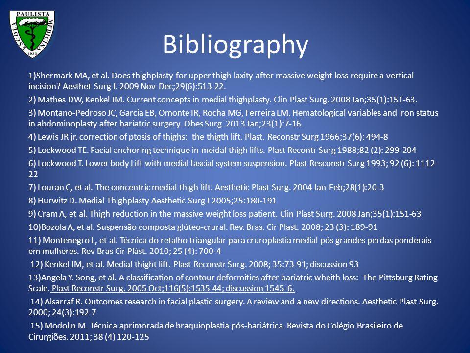 Bibliography 1)Shermark MA, et al.