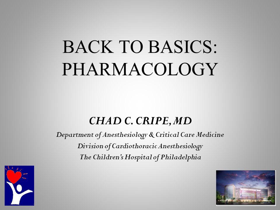 BACK TO BASICS: PHARMACOLOGY CHAD C.
