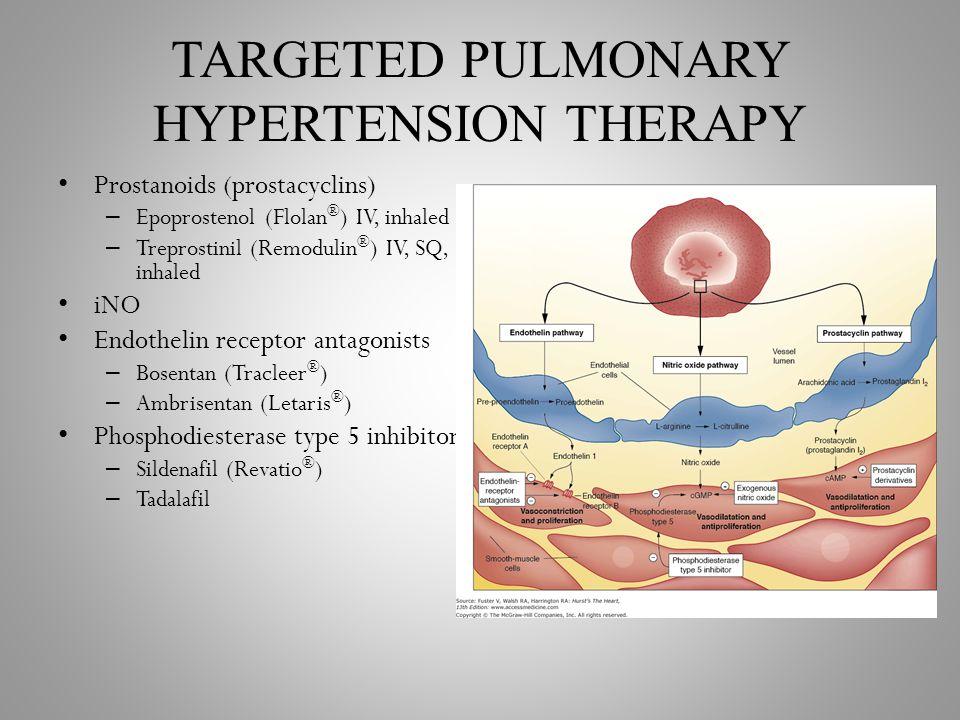TARGETED PULMONARY HYPERTENSION THERAPY Prostanoids (prostacyclins) – Epoprostenol (Flolan ® ) IV, inhaled – Treprostinil (Remodulin ® ) IV, SQ, inhal