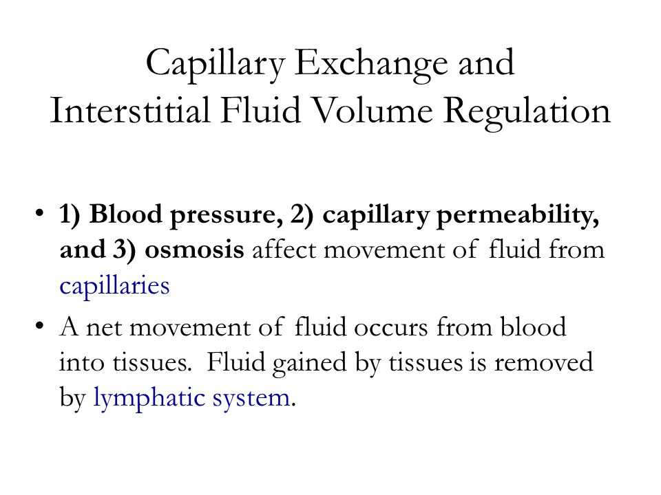 Capillary Exchange and Interstitial Fluid Volume Regulation 1) Blood pressure, 2) capillary permeability, and 3) osmosis affect movement of fluid from capillaries A net movement of fluid occurs from blood into tissues.