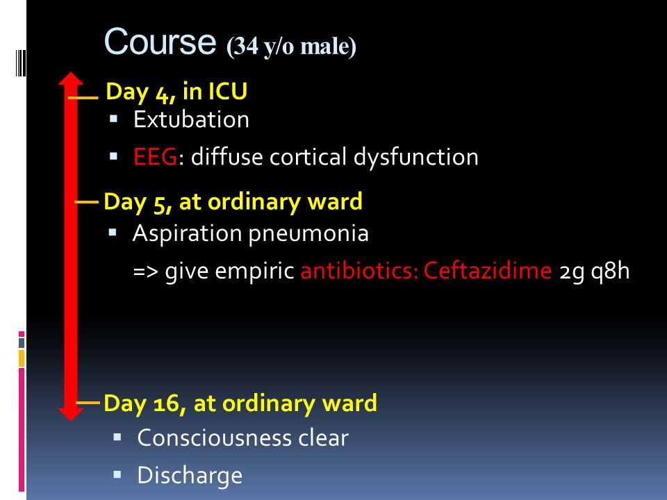 Course (34 y/o male) Day 4, in ICU Day 5, at ordinary ward  Aspiration pneumonia => give empiric antibiotics: Ceftazidime 2g q8h Day 16, at ordinary ward  Consciousness clear  Discharge  Extubation  EEG: diffuse cortical dysfunction