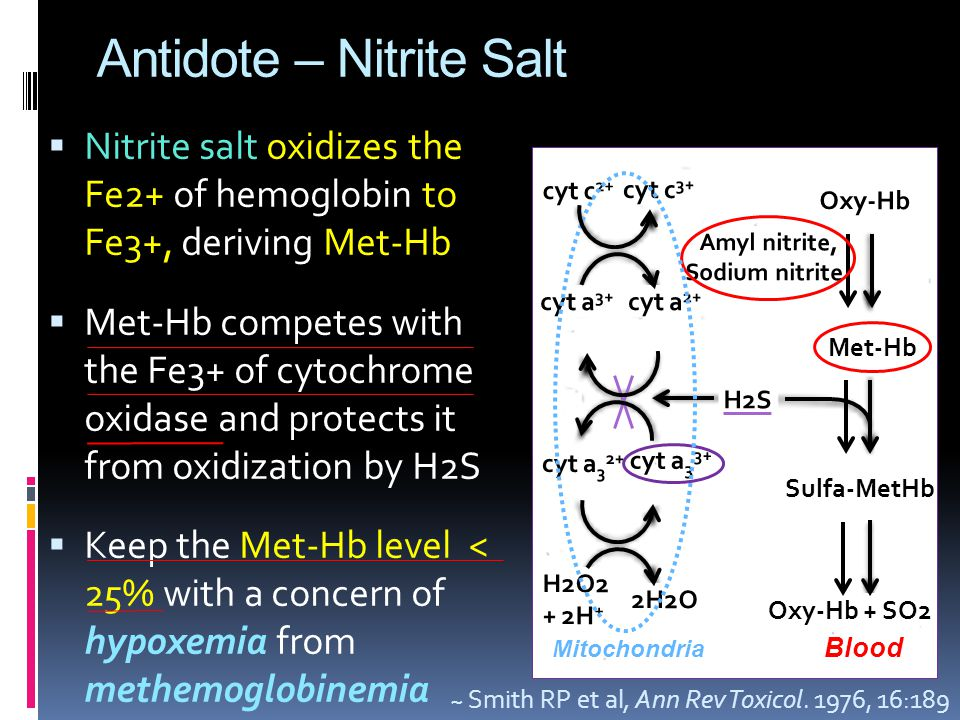 Antidote – Nitrite Salt  Nitrite salt oxidizes the Fe2+ of hemoglobin to Fe3+, deriving Met-Hb  Met-Hb competes with the Fe3+ of cytochrome oxidase and protects it from oxidization by H2S  Keep the Met-Hb level < 25% with a concern of hypoxemia from methemoglobinemia Oxy-Hb Met-Hb Sulfa-MetHb Oxy-Hb + SO2 H2S Amyl nitrite, Sodium nitrite cyt c 2+ cyt c 3+ cyt a 2+ cyt a 3+ cyt a 3 2+ cyt a 3 3+ H2O2 + 2H + 2H2O ~ Smith RP et al, Ann Rev Toxicol.