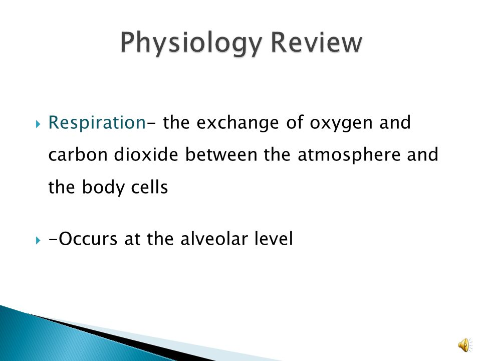  Ventilation- The mechanical exchange of air between the lungs and the atmosphere.  Pulmonary ventilation refers to the total exchange of gas.  Alv