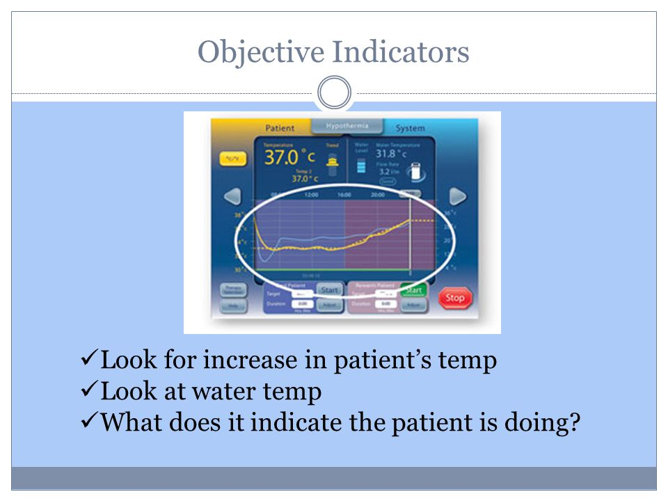 Objective Indicators Look for increase in patient's temp Look at water temp What does it indicate the patient is doing