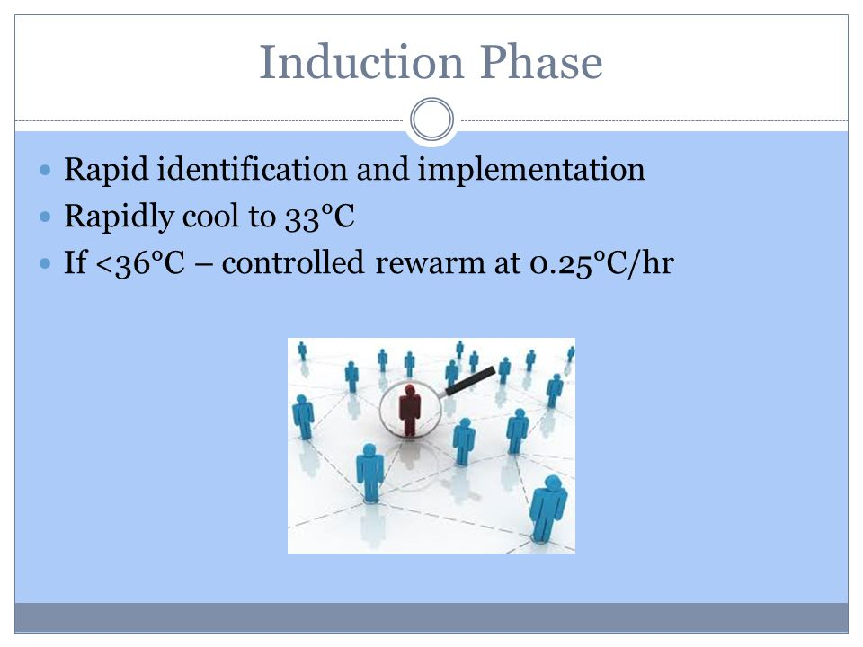 Induction Phase Rapid identification and implementation Rapidly cool to 33°C If <36°C – controlled rewarm at 0.25°C/hr