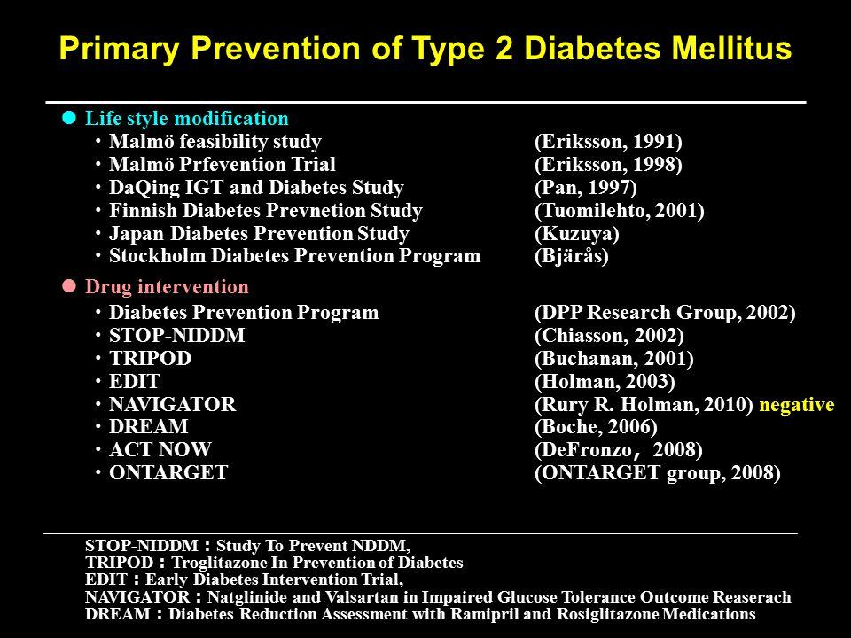 ● Life style modification ・ Malmö feasibility study(Eriksson, 1991) ・ Malmö Prfevention Trial(Eriksson, 1998) ・ DaQing IGT and Diabetes Study(Pan, 199