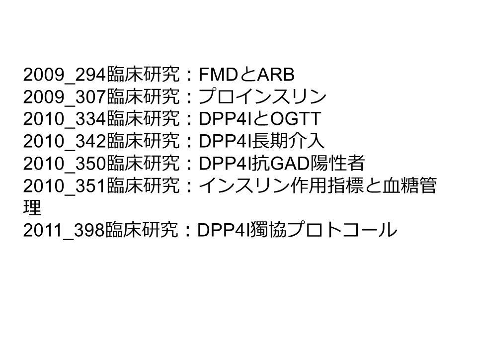 2009_294 臨床研究: FMD と ARB 2009_307 臨床研究:プロインスリン 2010_334 臨床研究: DPP4I と OGTT 2010_342 臨床研究: DPP4I 長期介入 2010_350 臨床研究: DPP4I 抗 GAD 陽性者 2010_351 臨床研究:インスリ