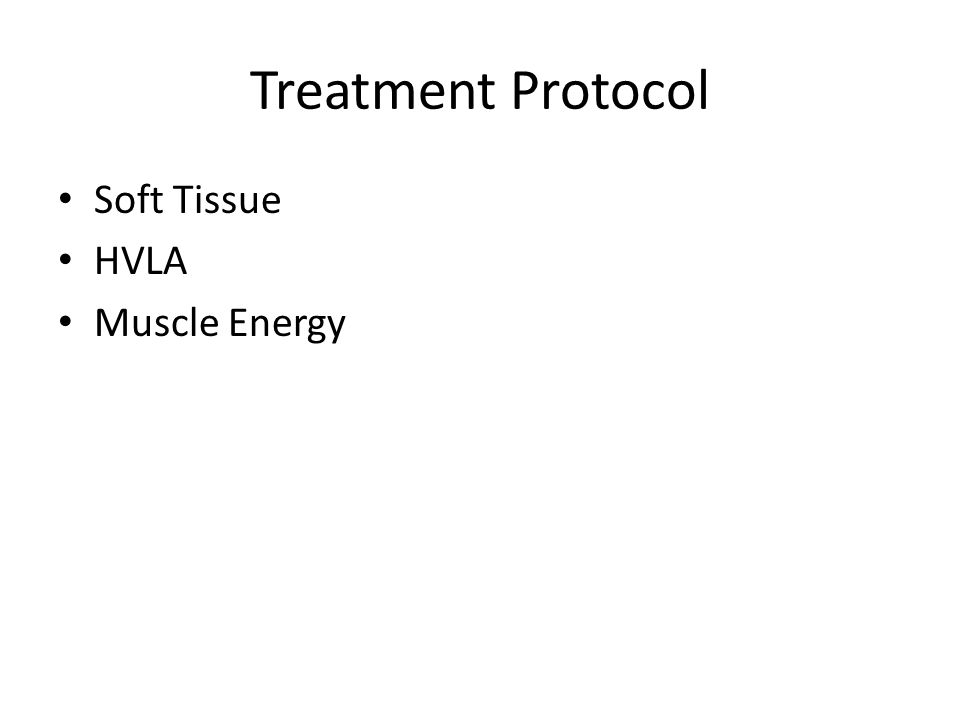 Treatment Protocol Soft Tissue HVLA Muscle Energy