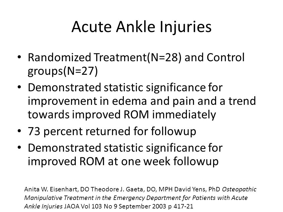 Acute Ankle Injuries Randomized Treatment(N=28) and Control groups(N=27) Demonstrated statistic significance for improvement in edema and pain and a t