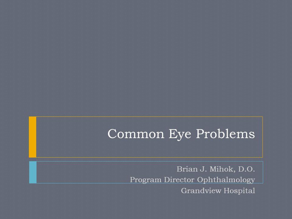 Common Eye Problems Brian J. Mihok, D.O. Program Director Ophthalmology Grandview Hospital