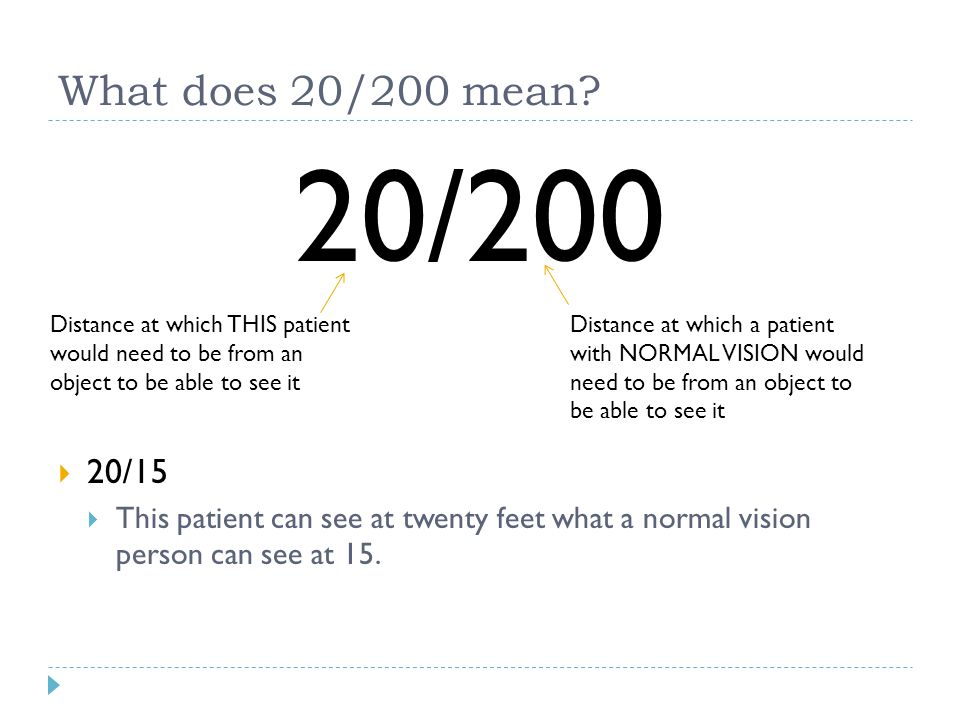 What does 20/200 mean? 20/200  20/15  This patient can see at twenty feet what a normal vision person can see at 15. Distance at which THIS patient