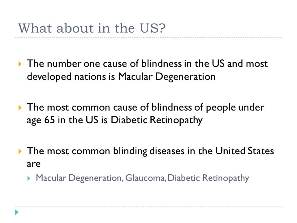 What about in the US?  The number one cause of blindness in the US and most developed nations is Macular Degeneration  The most common cause of blin