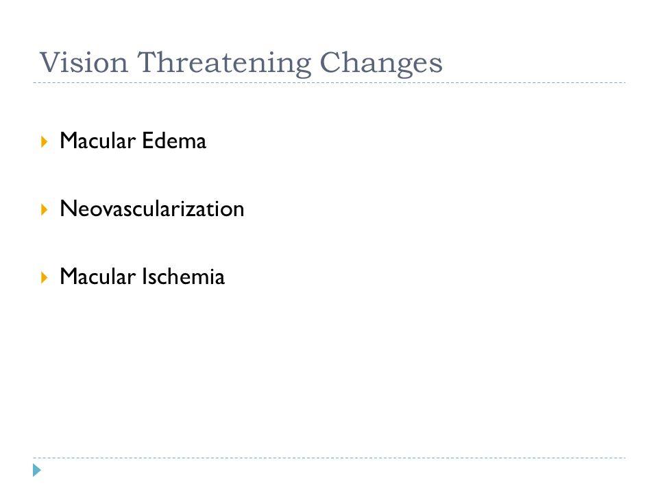 Vision Threatening Changes  Macular Edema  Neovascularization  Macular Ischemia