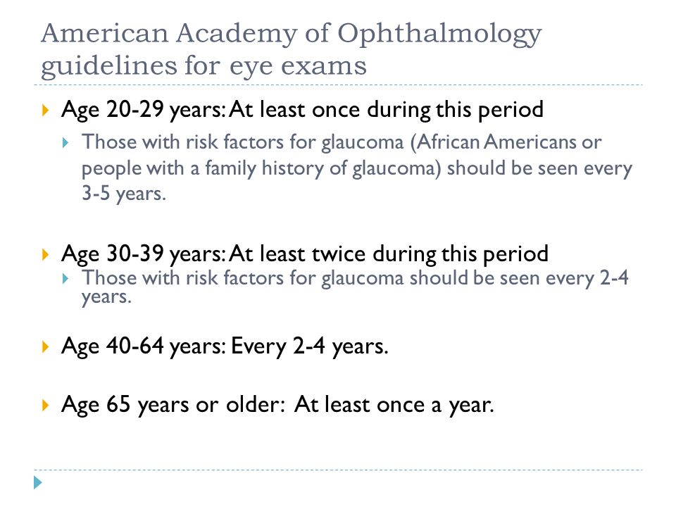 American Academy of Ophthalmology guidelines for eye exams  Age 20-29 years: At least once during this period  Those with risk factors for glaucoma