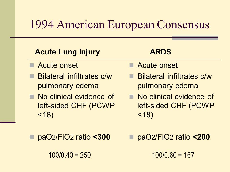 1994 American European Consensus Acute onset Bilateral infiltrates c/w pulmonary edema No clinical evidence of left-sided CHF (PCWP <18) paO 2 /FiO 2