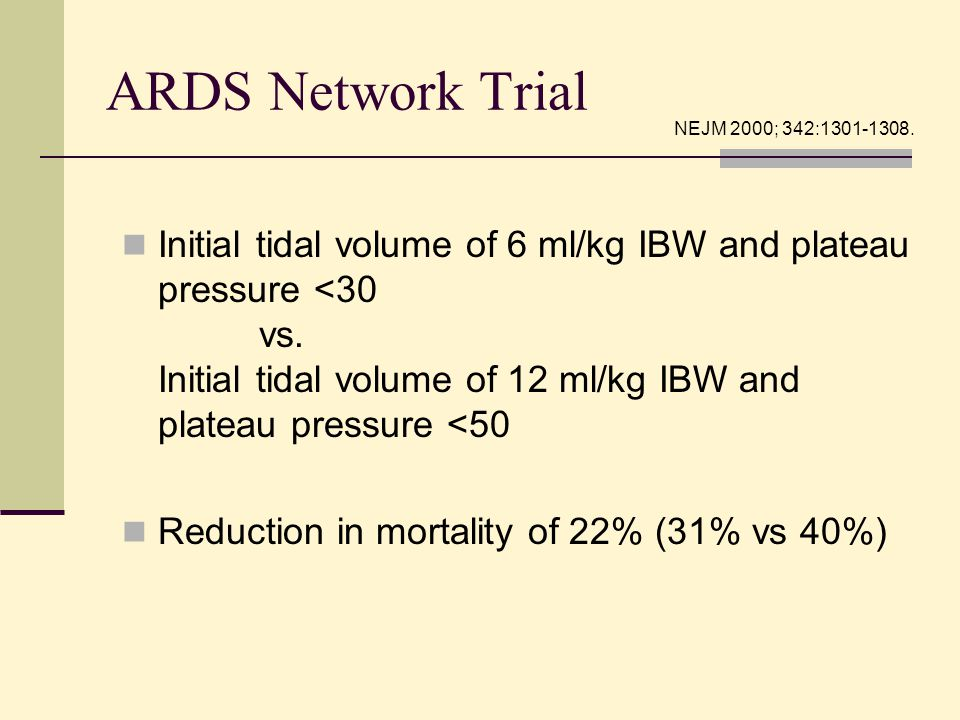 ARDS Network Trial Initial tidal volume of 6 ml/kg IBW and plateau pressure <30 vs. Initial tidal volume of 12 ml/kg IBW and plateau pressure <50 Redu