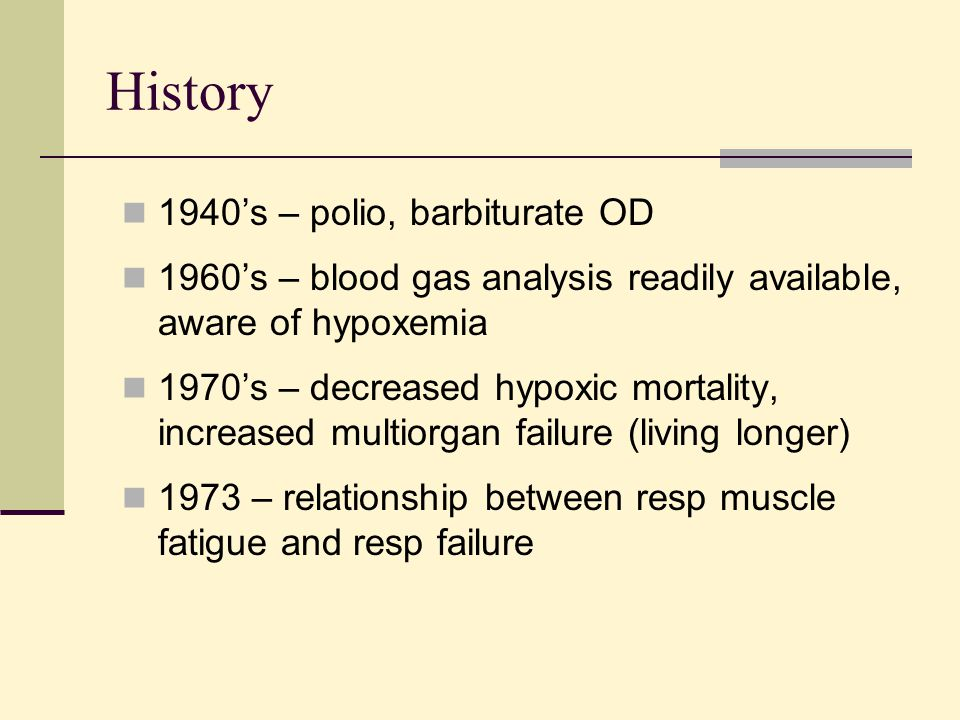 History 1940's – polio, barbiturate OD 1960's – blood gas analysis readily available, aware of hypoxemia 1970's – decreased hypoxic mortality, increas