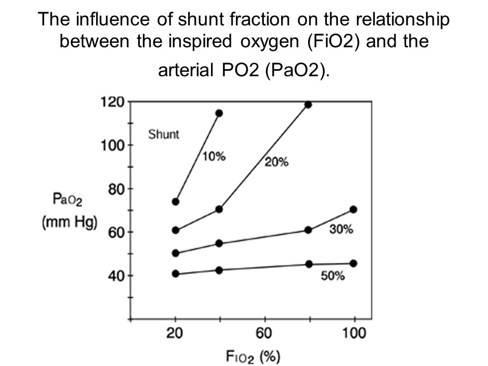 The influence of shunt fraction on the relationship between the inspired oxygen (FiO2) and the arterial PO2 (PaO2).