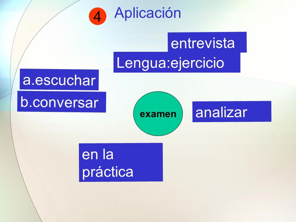 Aplicación examen b.conversar analizar Lengua:ejercicio a.escuchar en la práctica entrevista 4