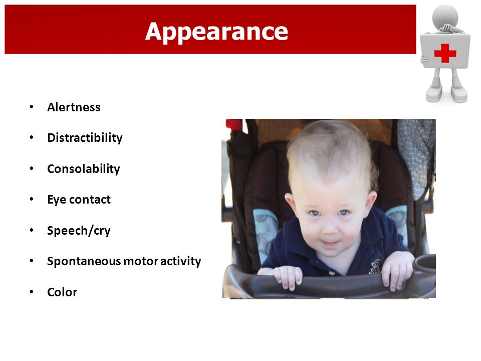 Appearance Alertness Distractibility Consolability Eye contact Speech/cry Spontaneous motor activity Color