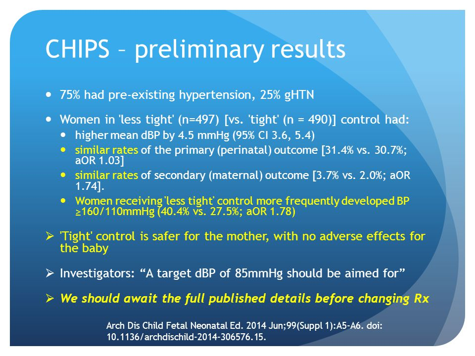 CHIPS – preliminary results 75% had pre-existing hypertension, 25% gHTN Women in less tight (n=497) [vs.