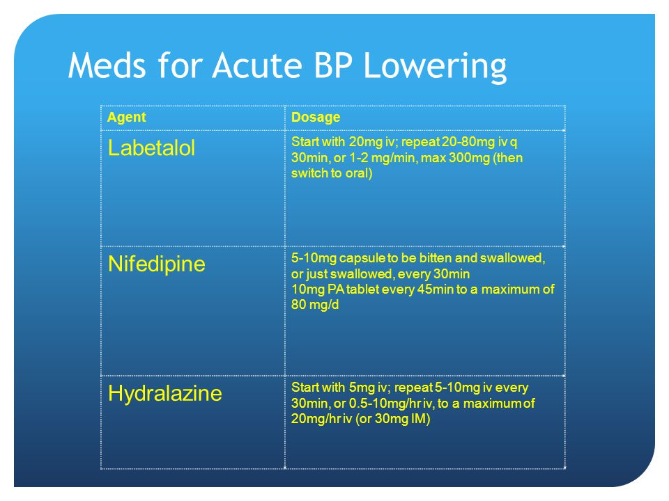 Meds for Acute BP Lowering AgentDosage Labetalol Start with 20mg iv; repeat 20-80mg iv q 30min, or 1-2 mg/min, max 300mg (then switch to oral) Nifedipine 5-10mg capsule to be bitten and swallowed, or just swallowed, every 30min 10mg PA tablet every 45min to a maximum of 80 mg/d Hydralazine Start with 5mg iv; repeat 5-10mg iv every 30min, or 0.5-10mg/hr iv, to a maximum of 20mg/hr iv (or 30mg IM)