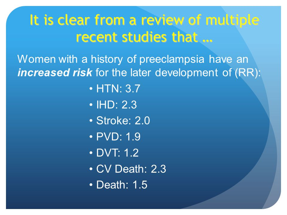 It is clear from a review of multiple recent studies that … Women with a history of preeclampsia have an increased risk for the later development of (RR): HTN: 3.7 IHD: 2.3 Stroke: 2.0 PVD: 1.9 DVT: 1.2 CV Death: 2.3 Death: 1.5