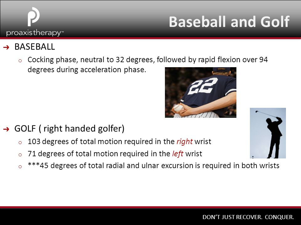 DON'T JUST RECOVER. CONQUER. Baseball and Golf ➔ BASEBALL o Cocking phase, neutral to 32 degrees, followed by rapid flexion over 94 degrees during acc