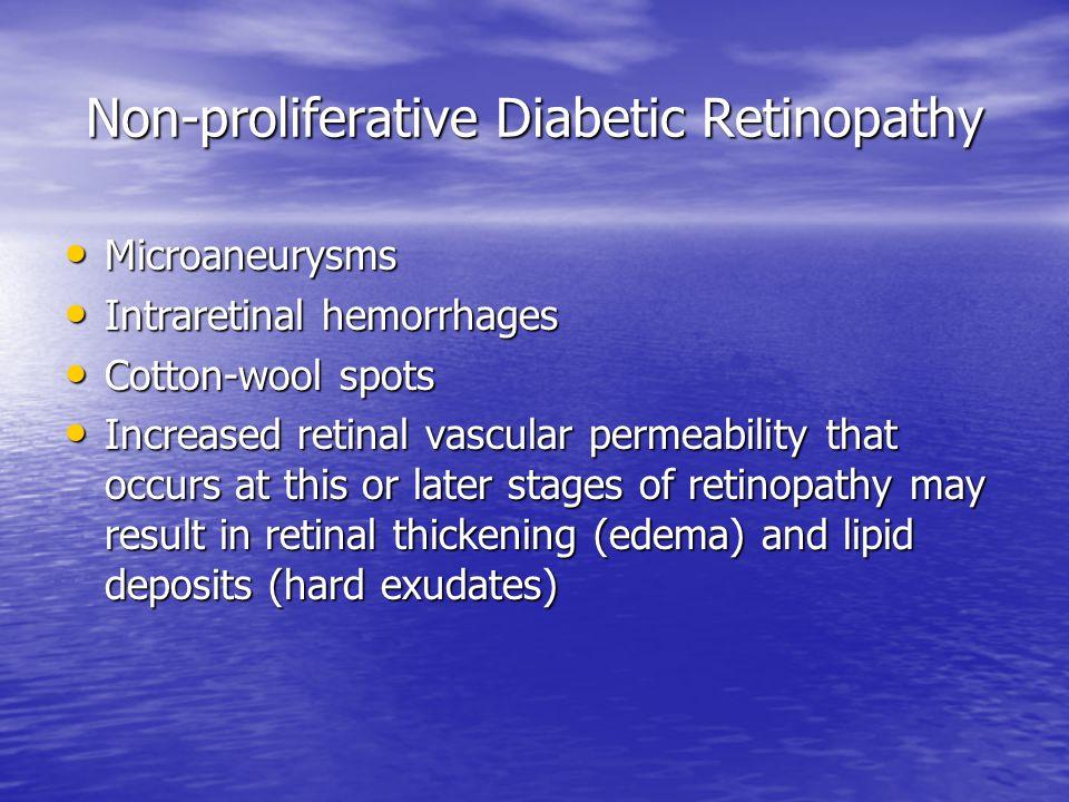 Non-proliferative Diabetic Retinopathy Microaneurysms Microaneurysms Intraretinal hemorrhages Intraretinal hemorrhages Cotton-wool spots Cotton-wool s