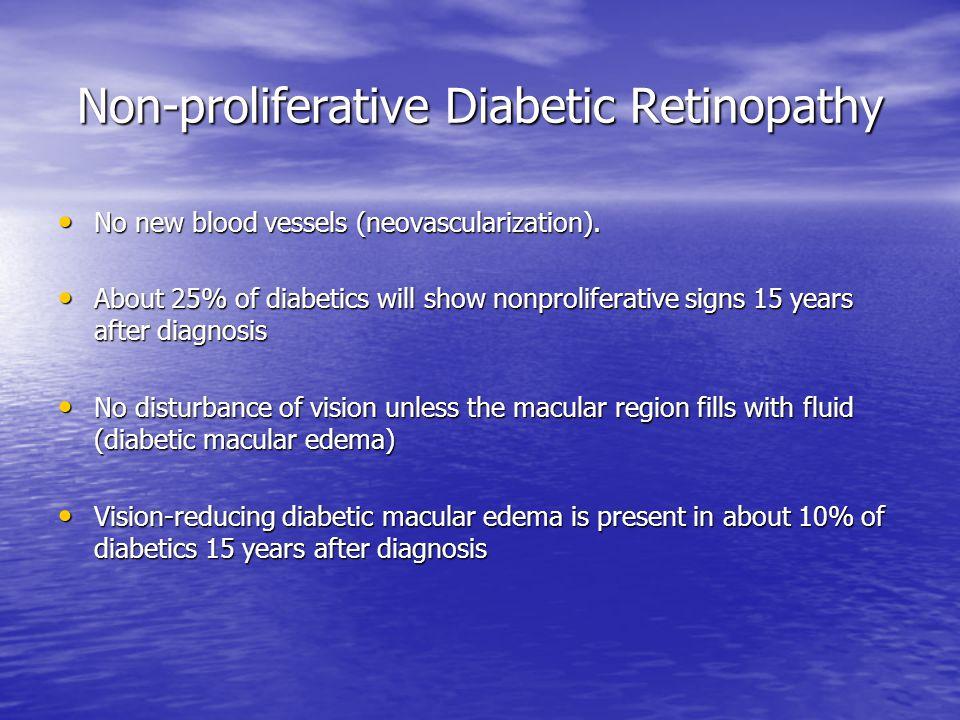 Non-proliferative Diabetic Retinopathy No new blood vessels (neovascularization). No new blood vessels (neovascularization). About 25% of diabetics wi