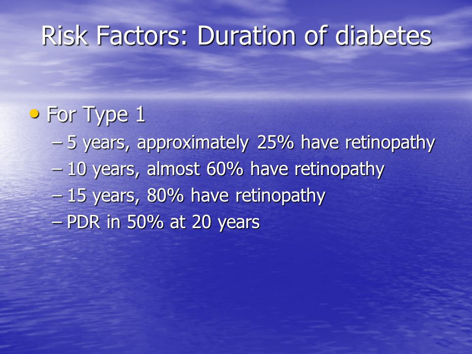 Risk Factors: Duration of diabetes For Type 1 For Type 1 –5 years, approximately 25% have retinopathy –10 years, almost 60% have retinopathy –15 years, 80% have retinopathy –PDR in 50% at 20 years