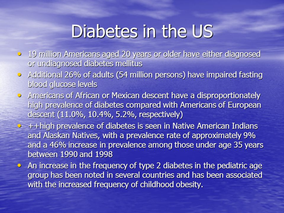 Diabetes in the US 19 million Americans aged 20 years or older have either diagnosed or undiagnosed diabetes mellitus 19 million Americans aged 20 yea