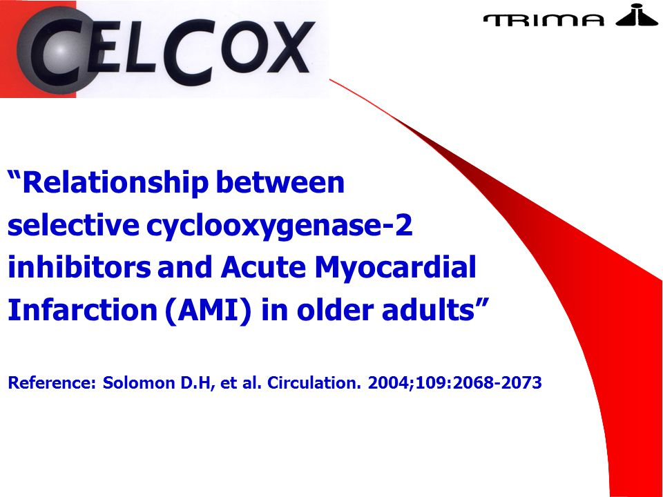 """Relationship between selective cyclooxygenase-2 inhibitors and Acute Myocardial Infarction (AMI) in older adults"" Reference: Solomon D.H, et al. Circ"