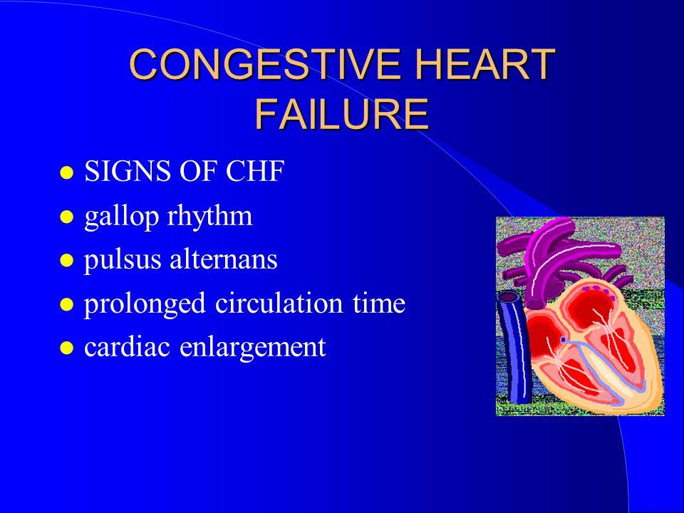 CONGESTIVE HEART FAILURE SIGNS OF CHF gallop rhythm pulsus alternans prolonged circulation time cardiac enlargement